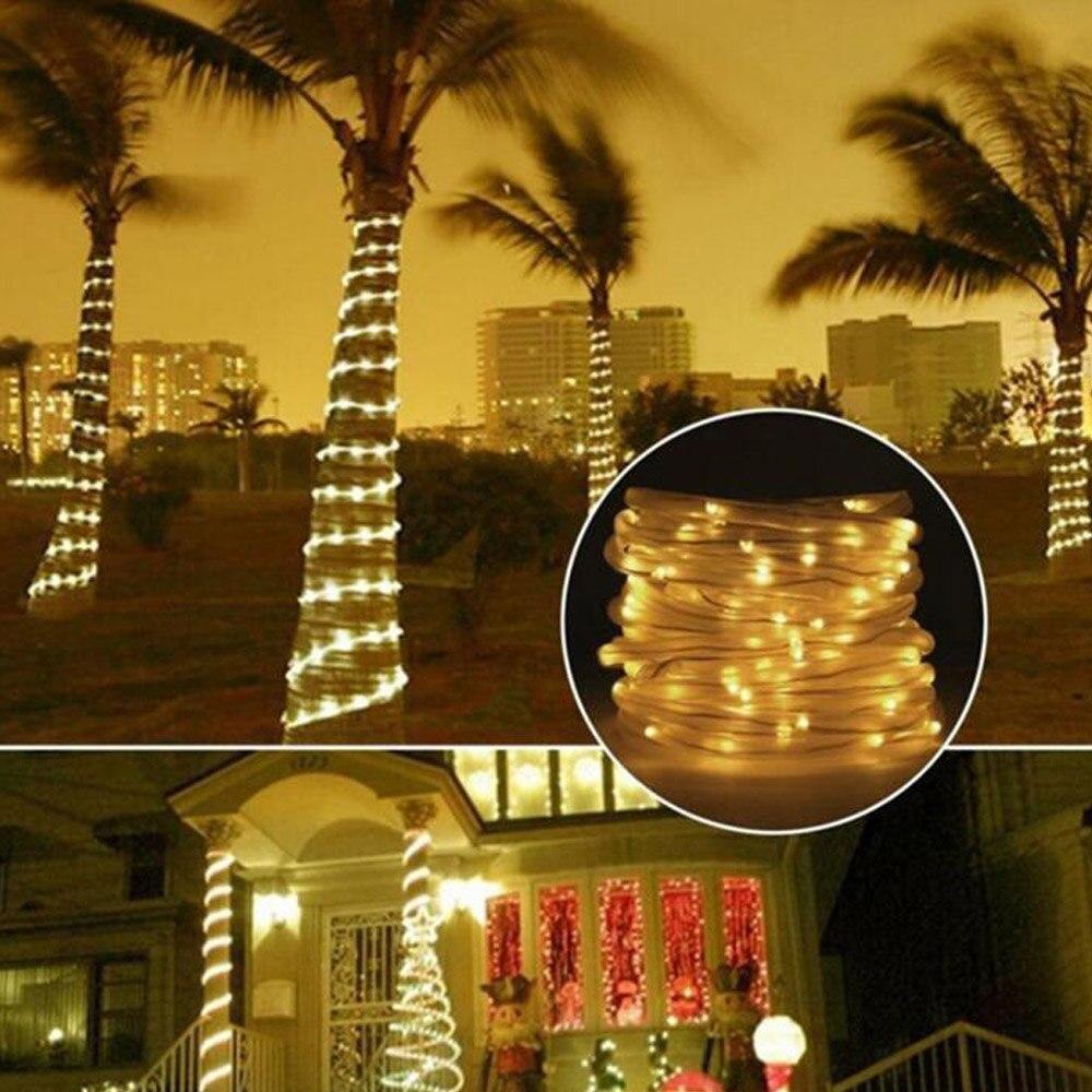 7m 12m cuerda tubo LED guirnalda de luz Solar bombilla Hada Navidad boda hogar al aire libre para decoración de jardín tira impermeable
