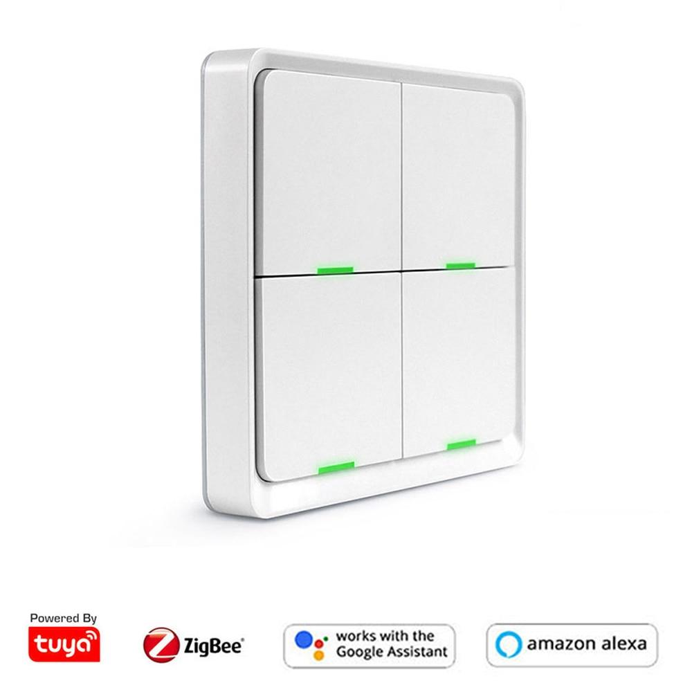 Tuya Zigbee-مفتاح حائط لاسلكي ، مفتاح إضاءة ، 4 أزرار تشغيل/إيقاف ، متوافق مع Smartthing ، Smartlife ، توصيل مباشر