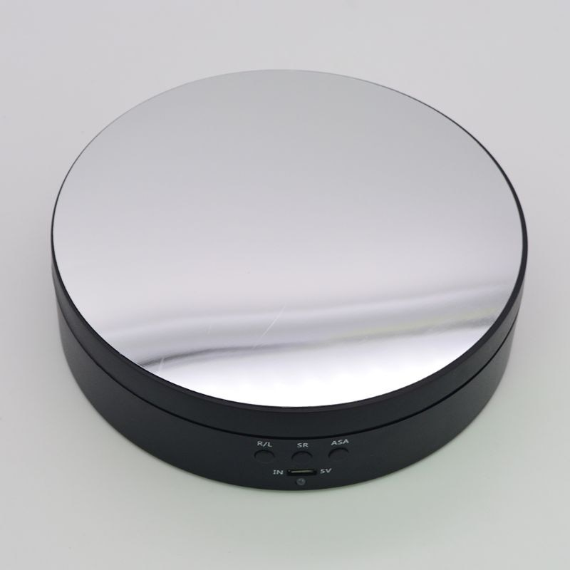 3 Speeds Electric Rotating Display Stand Mirror Turntable Jewelry Holder Battery/USB Power