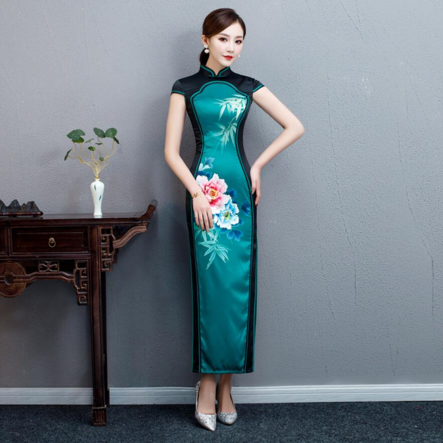 Sexy Women Long Cheongsam Traditional Chinese style Dress Womans Qipao Slim Party Dresses