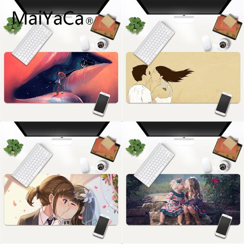 Игровой скоростной коврик для мыши MaiYaCa с забавными любовными поцелуями, розничная продажа, маленький резиновый коврик для мыши, игровой ко...
