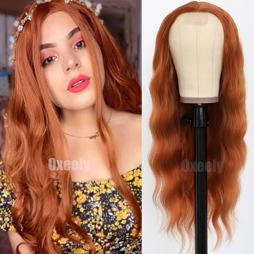 Oxeely Orange Ginger Color Loose Wave Wigs Heat Resistant Wavy Hair Copper Red Wigs Synthetic No Lace Wigs for Fashion Women