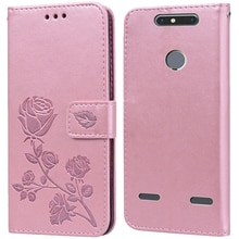Luxury Leather Flip Book Case for ZTE Blade V8 Mini BV0850 V8 Lite Rose Flower Wallet Stand Case Pho