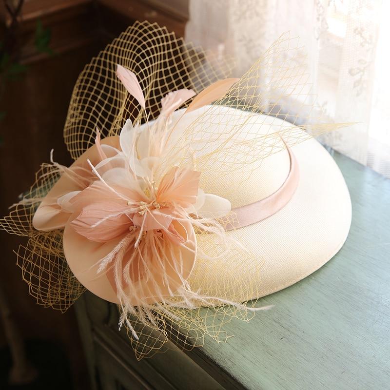 Women Large Brim Sinamay Fascinator Hat Cocktail Wedding Party Church Headpiece Fashion Headwear Formal Flower Hair Accessories