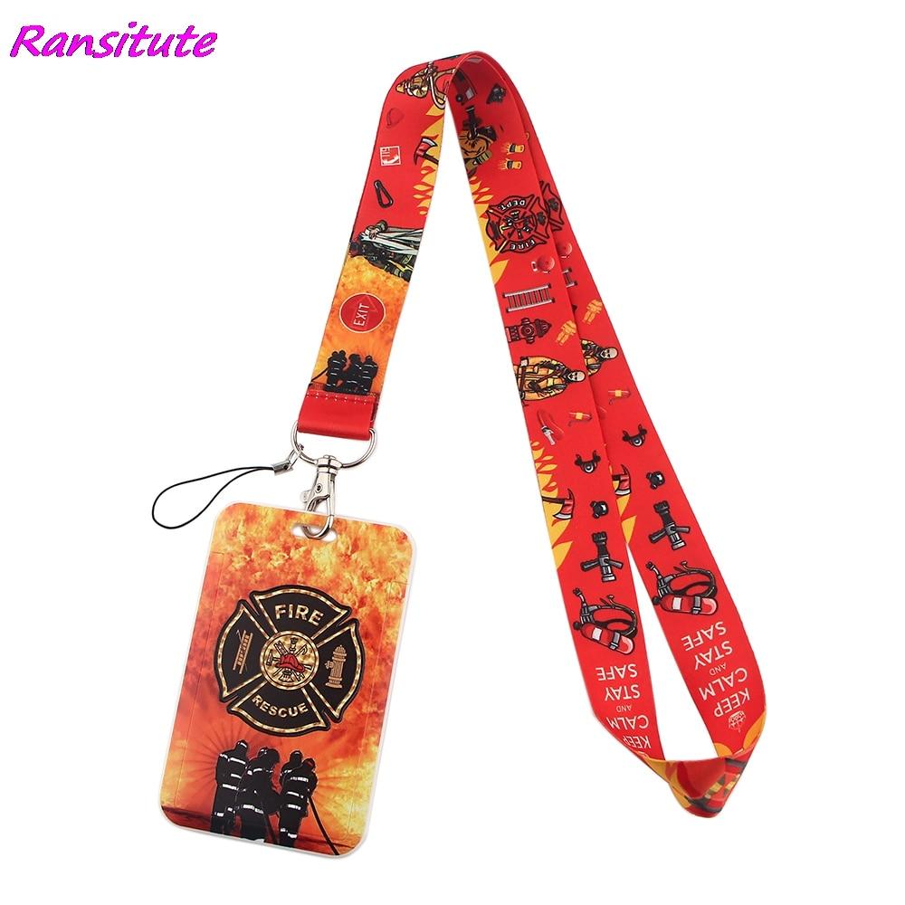 Ransitute R1717 противопожарное оборудование творческих шнурки держатель для карт с рисунком «пожарный с завязками на шее, телефон на решешке зна...