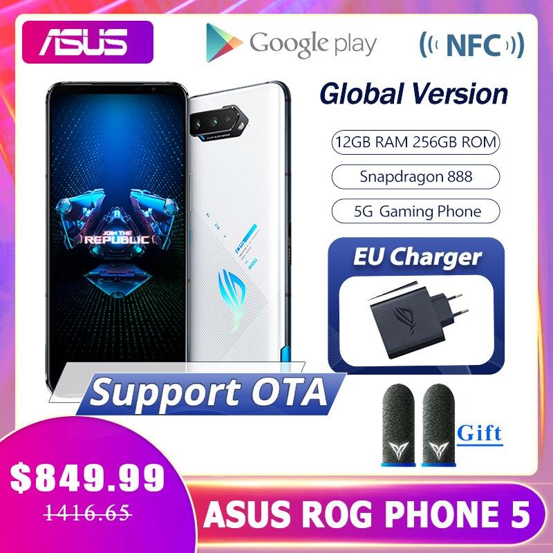 Оригинальное ASUS ROG Phone 5 глобальная версия белый Snapdragon888 12 Гб Оперативная память 256 ГБ Встроенная память 6000 мА/ч, 65 Вт NFC OTA игровой телефон ROG5 иг...