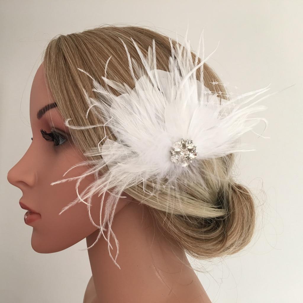 White Feather Headpiece Fascinator Hair Clips Wedding Bridal Hair Accessory