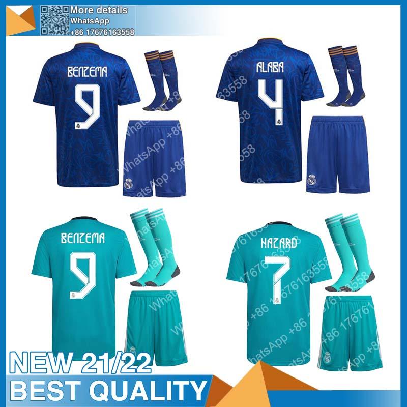 2021 2022 BENZEMA MODRIC HAZARD 21-22 Send Fast Top Quality Shirt MARCELO Real MadridES Shirt JOVIC New Home Away KIDS Set
