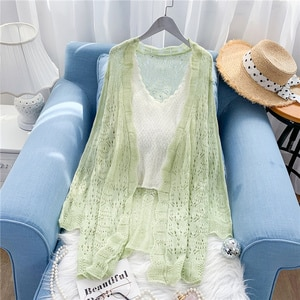 Thin Solid Knitted Women Sweater and Cardigan 2021 V-Neck Flare Lseeved Long Loose Casual Outwear Coat Tops