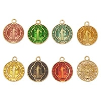 classics 10pcs round colorful enamel zinc alloy charm religious pendant diy jewelry necklace earring accessories