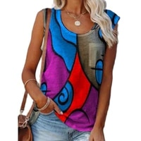 women casual sleeveless patchwork pullover tank tops vintage loose o neck vest top summer sexy colorful print tee shirt clothing
