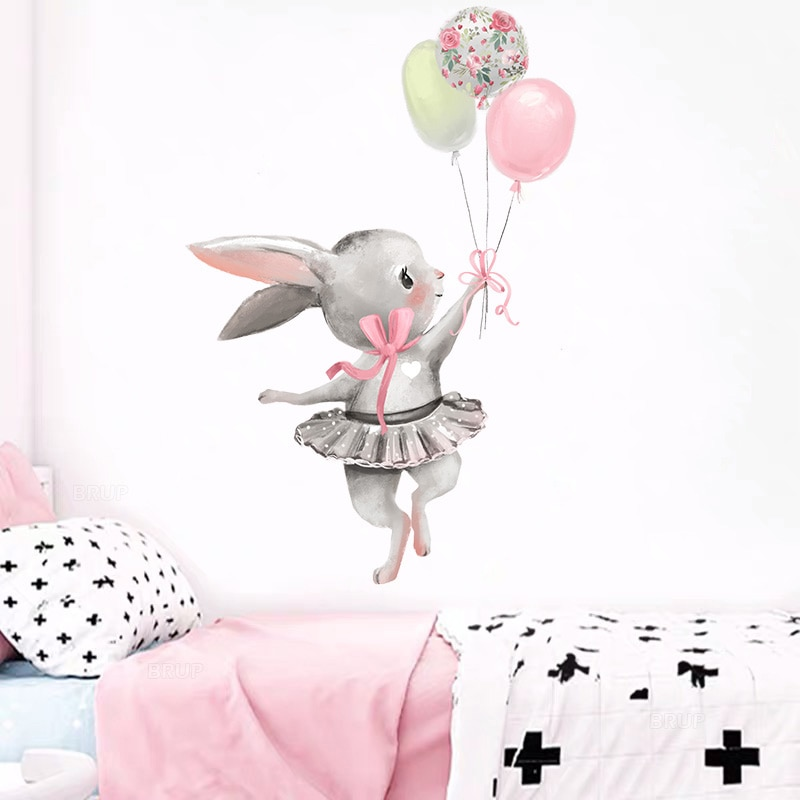 Детская комната, милый балет, зайчик, настенные наклейки для детской комнаты, детская комната, украшение, мультфильм, фотография, подарок, ук...