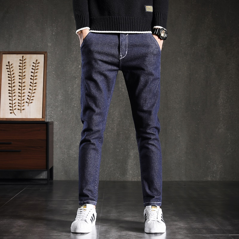 2021 Blue Autumn Winter Style Korean Man Youth Jeans Contracted Slim Body Small Foot Popular Logo Le