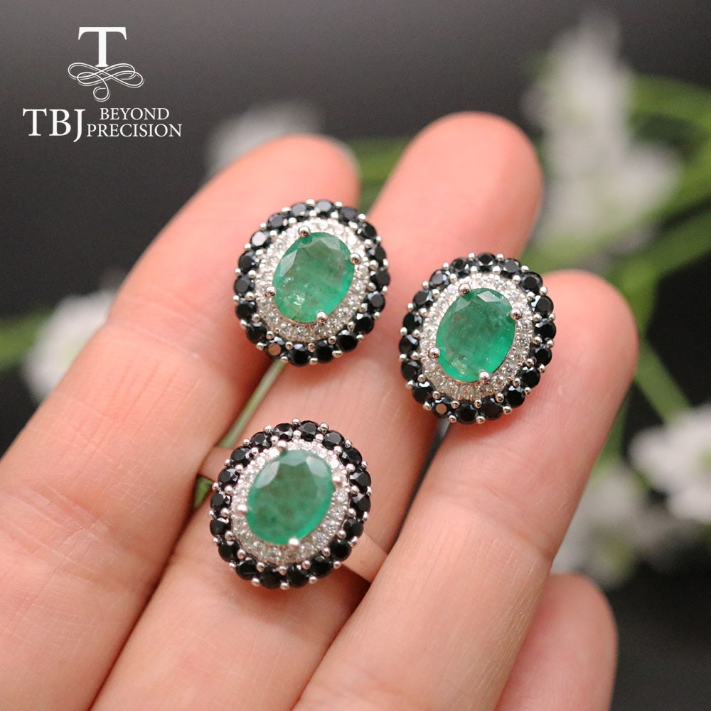 Review TBJ,Classic natural Emerald gemstone jewelry set natural zambia emerald gemstone fine jewelry  925 sterling ring earring pendant