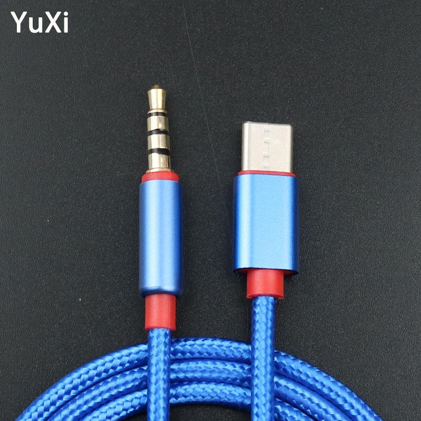 Cable de Audio USB tipo C de YuXi, cable de conversión de Audio auxiliar macho a macho de 3,5mm para coche, adaptador para Huawei Honor P20 Xiaomi