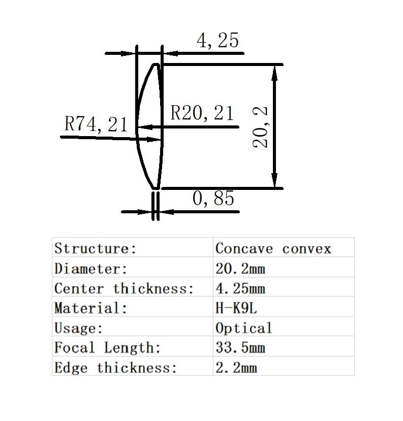 1pc 80mm optical glass focal length 330mm fgmc doublet optics double convex lens for diy astronomic telescope objective lens Concave-Convex Lens Diameter 20.2mm Focal  Length 33.5mm H-K9L Glass Lens Optical Glass Optical Lens