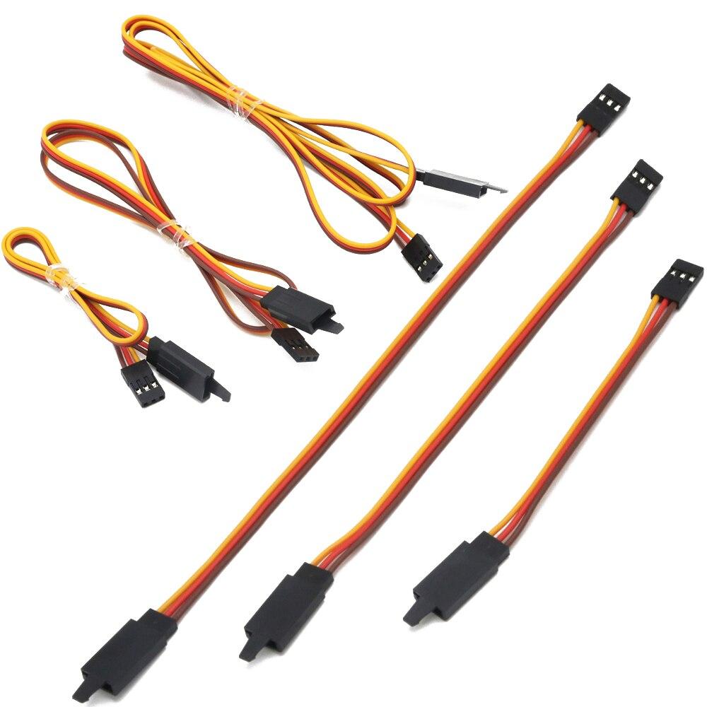Cabo de extensão servo, 100 pces 100/150/200/300/500/1000mm cabo de fio de ligação de extensão servo, núcleo 60 anti-solto para rc futaba jr