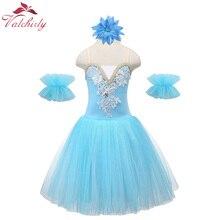 Blue Children Professional Ballet Dance Dress Girl Ballet Tutu Dance Costumes Kids Stage Wear Swan L