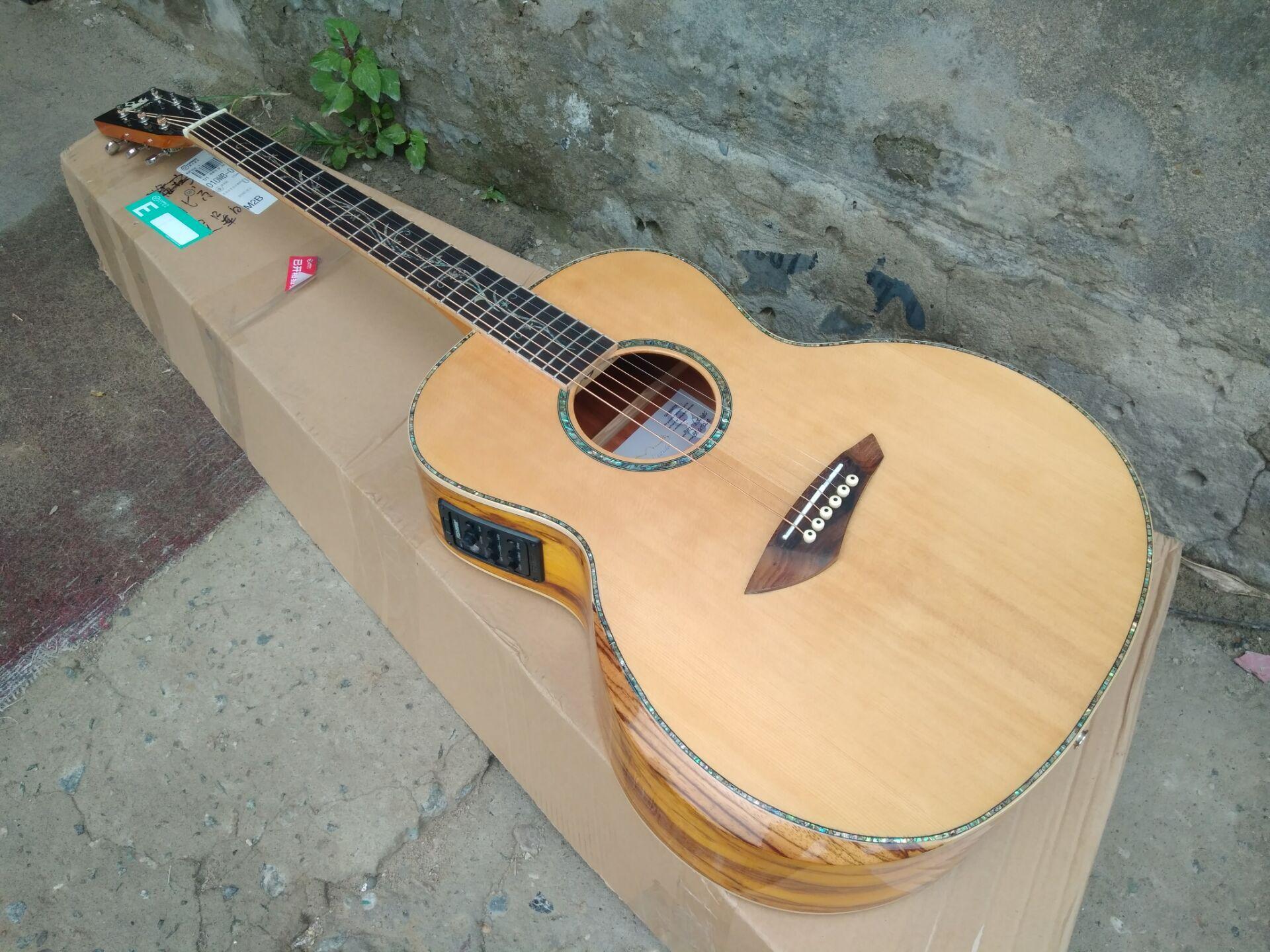 Byron-جيتار كهربائي صوتي ، خشب صلب ، شحن مجاني ، جودة AAA ، مخصص