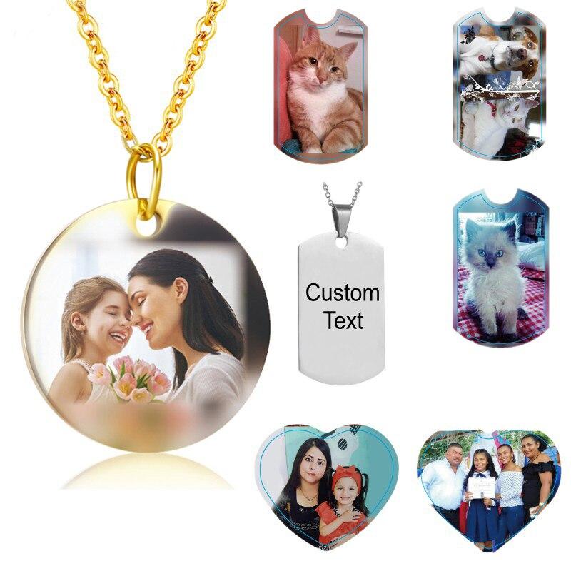Ожерелье для женщин и мужчин из нержавеющей стали, индивидуальное ожерелье с текстом под фото, с кулоном в виде сердечка, квадрата, овальной ...