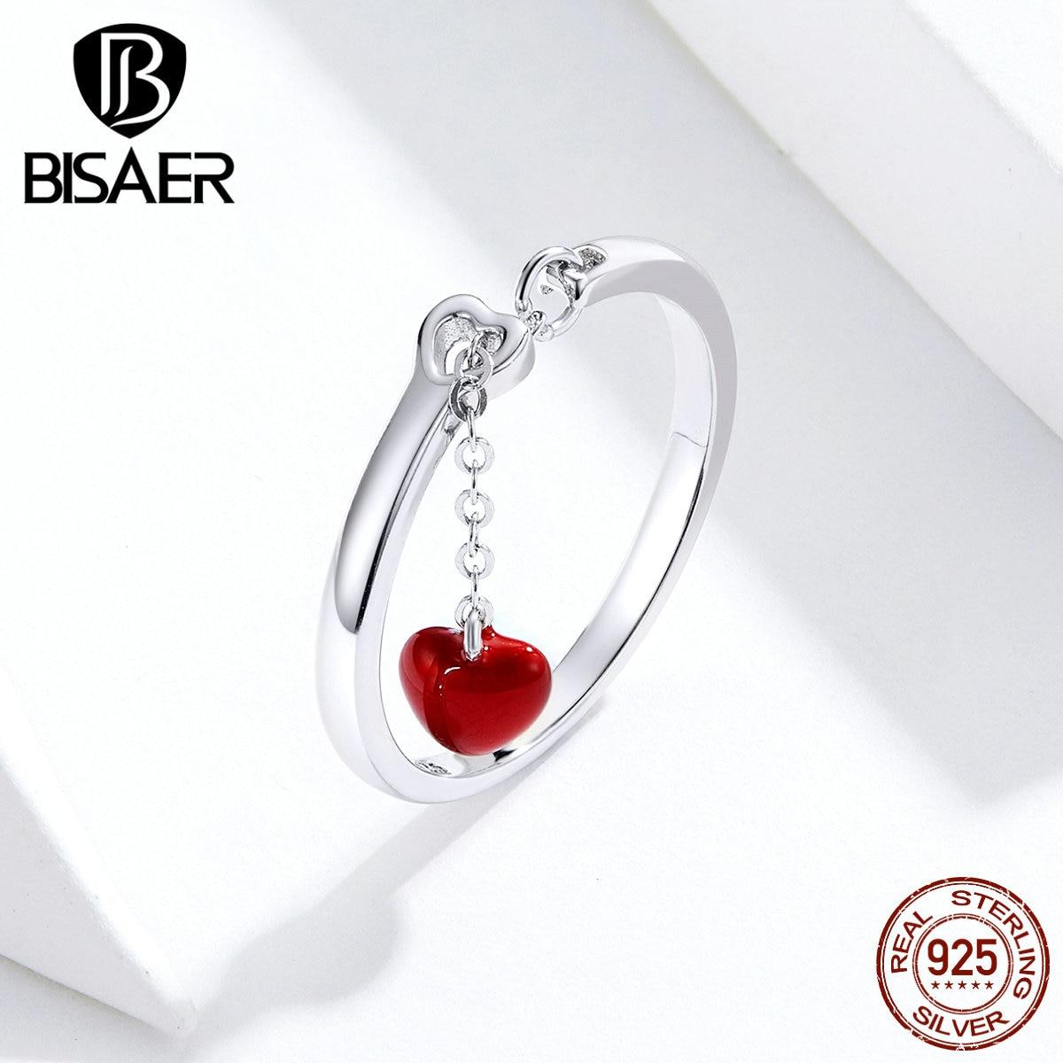 Heartbeats anillos BISAER regalo de San Valentín Plata de Ley 925 esmalte rojo cadena larga anillos de dedo para mujer joyería de plata ECR627
