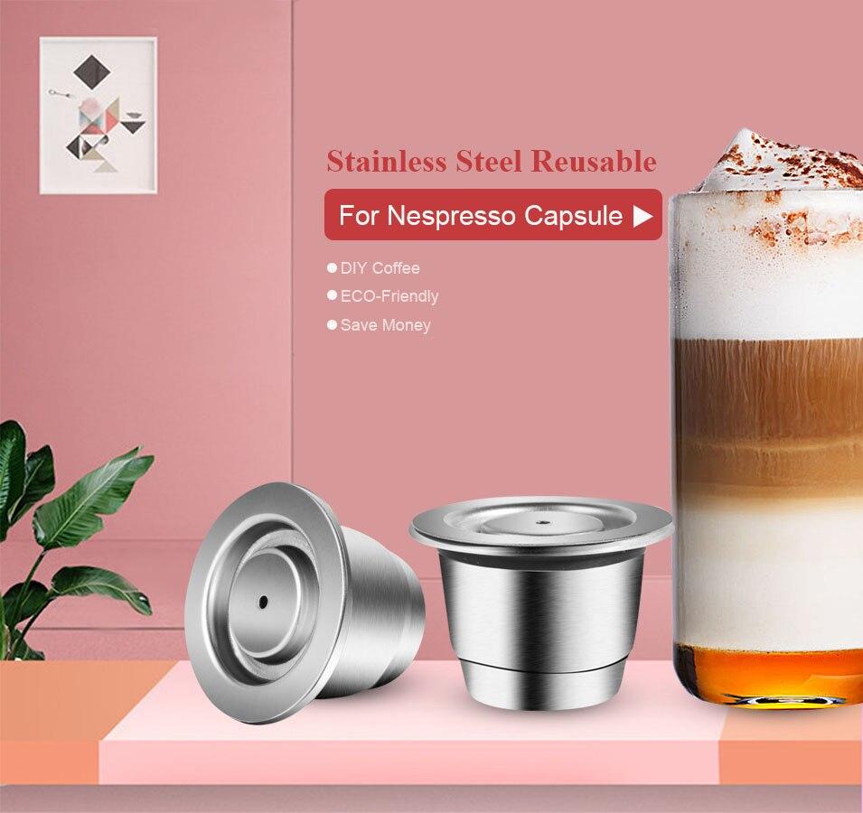 Recargable actualización Nespresso de acero inoxidable cápsula vacía Crema filtro de café reutilizable taza reutilizable café Café con herramienta