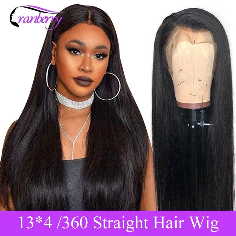Pelucas de cabello humano con frente de encaje recto Cranberry peluca predesplumada 13X4 peluca con malla Frontal Peluca de encaje Frontal 360 pelucas Remy brasileñas