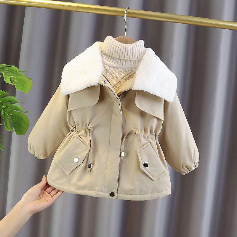 Meninas jaquetas 2021 novo casaco de inverno estilo estrangeiro das crianças acolchoado casacos inverno mais veludo acolchoado roupas gola pele roupas