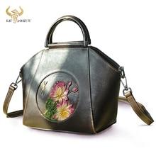 Coffee Flower Emboss Quality Leather Famous Brand Luxury Ladies Shopper handbag Shoulder bag Women D