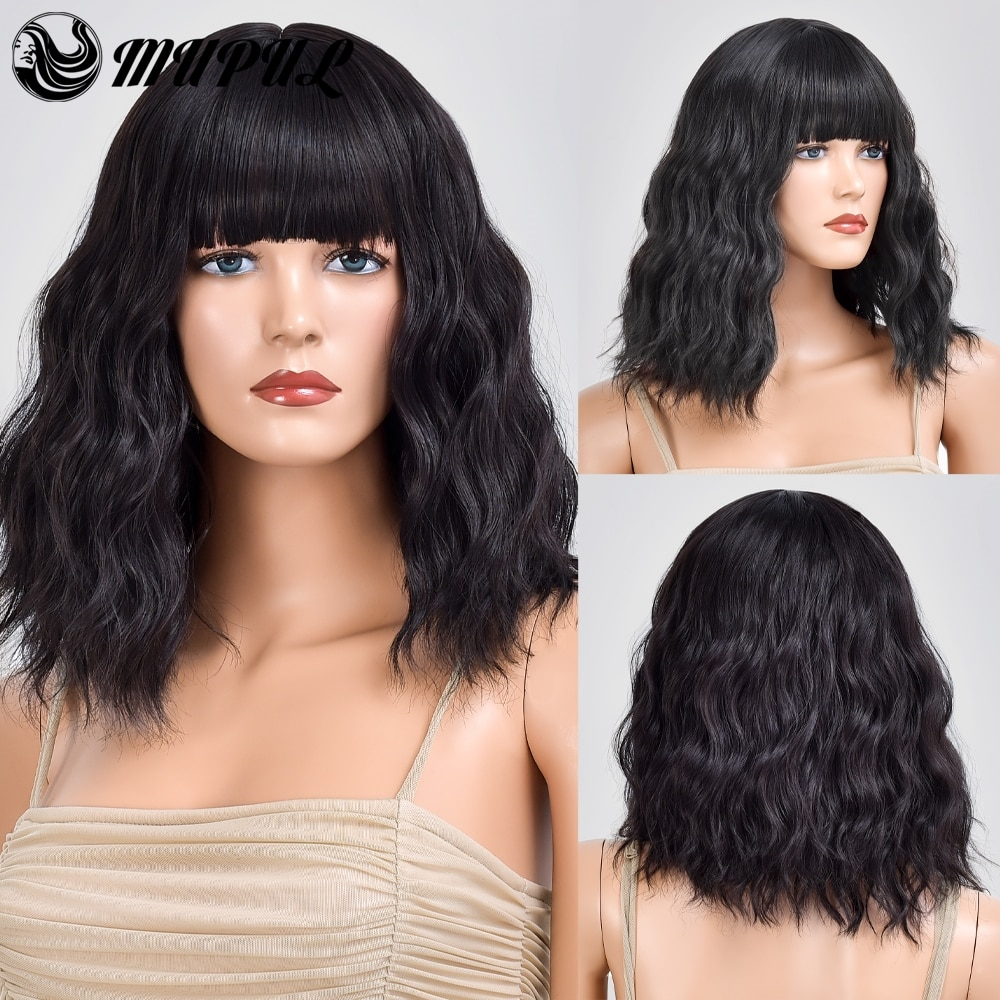 Short Black Wave Natural Hair Synthetic Wig For White Women With Bangs Daily Heat Resistant Female Cosplay Wavy Fiber Wigs