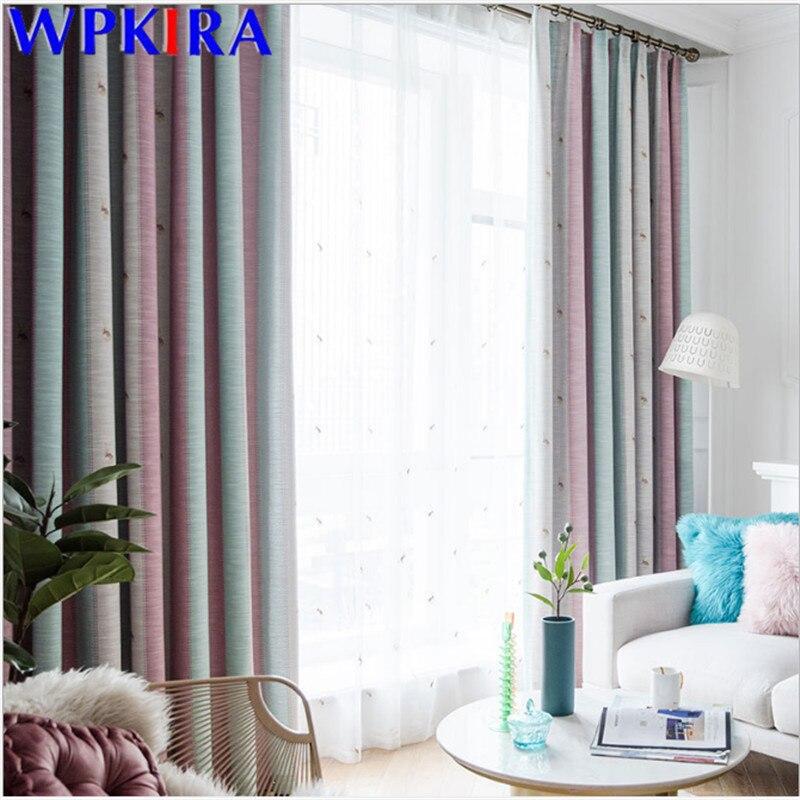 Cortina colorida de lino y algodón para dormitorio de niños, cortinas transparentes de dibujos animados, Panel de cortina bordado para sala de estar de niñas, X-AD397 #30