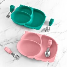 Cow Silicone Baby Feeding Silicone Plate Kids Food Bowl For Breakfast Nursning Feeding Tableware Set Dishes With Spoon Fork Set
