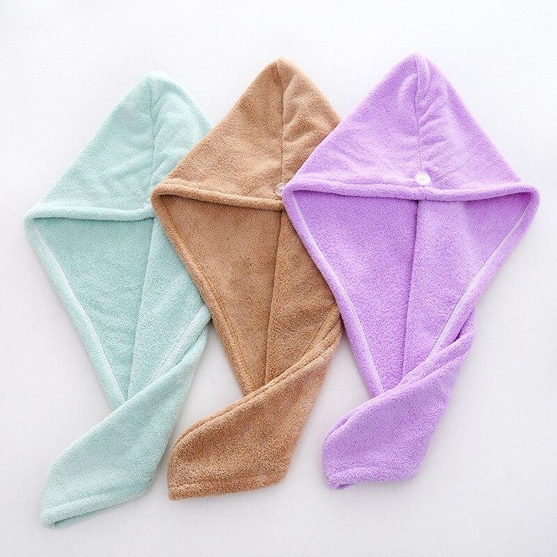 1 Uds. Microfibra para secar el cabello después de la ducha Toalla de secado rápido para mujer niñas gorro de cabello gorro de turbante herramientas de baño