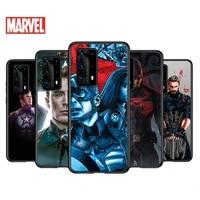 soft tpu cover steve captain america for huawei p40 p30 p20 pro p10 p9 p8 lite ru e mini plus 2019 2017 black phone case