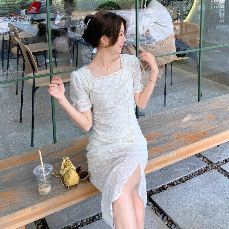 CMAZ dress for women 2021 summer lace french style elegant short sleeve dress long female white dresses 6319#