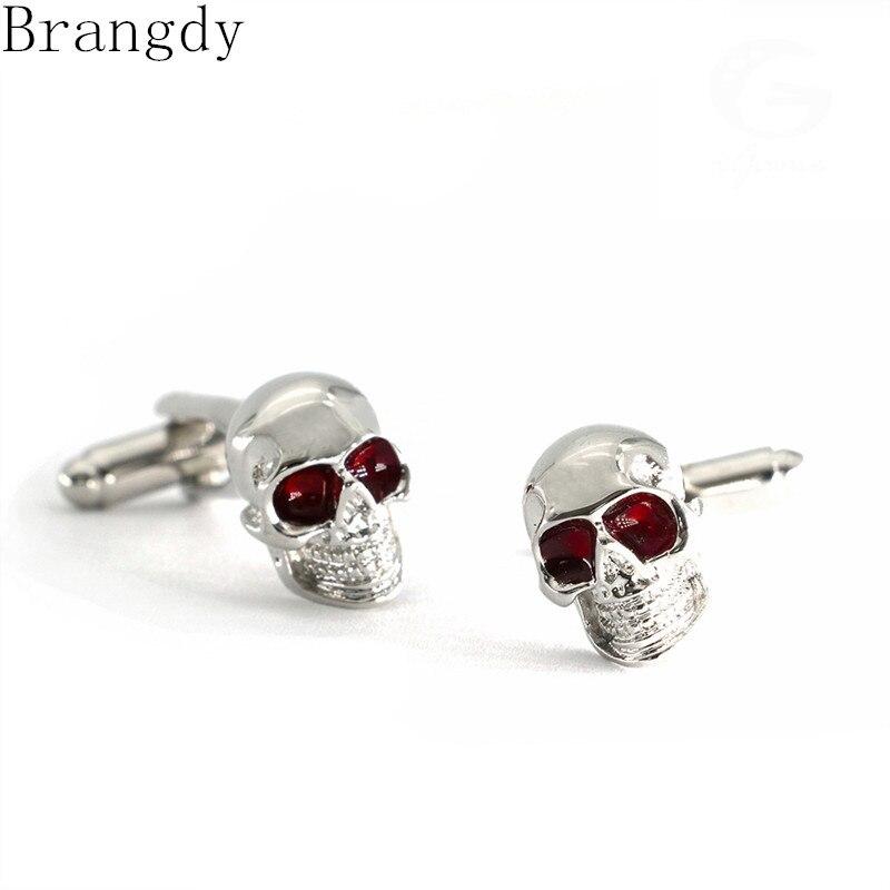 Gemelos de calavera de ojos rojos de regalo de Halloween de la marca Brangdy, gemelos franceses de cobre de alta calidad para hombres