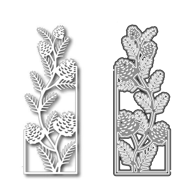 2020 3D New Metal Cutting Die Cuts and Scrapbooking For Paper Making Pinecone Branch Embossing Frame Card Craft No Stamps