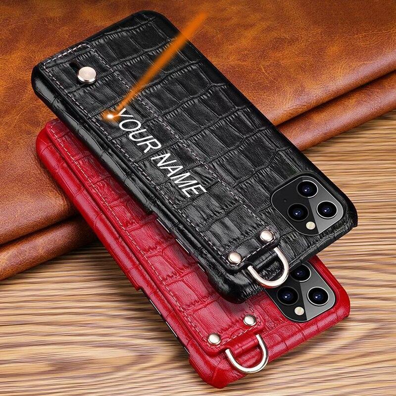 حافظة ظهر من الجلد الأصلي لهواتف آيفون 11/11Pro/11Pro Max Xs Max Fran-BD حافظة صلبة ثلاثية الأبعاد من جلد التمساح