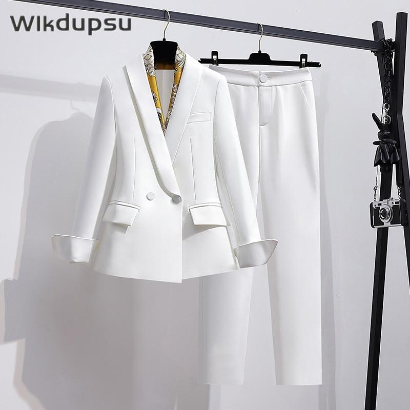 بدلة بانت عتيقة للسيدات ملابس عمل مهنية أنيقة طقم مكون من قطعتين بدلة بلازر للسيدات مقاس كبير
