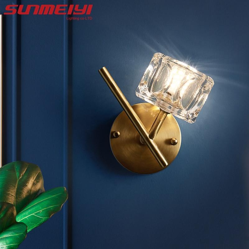 Modern Led Wall Lamps Copper Bedroom Light decor Minimalist Crystal Gold Wall Light For Living room Stair Loft Indoor Lighting