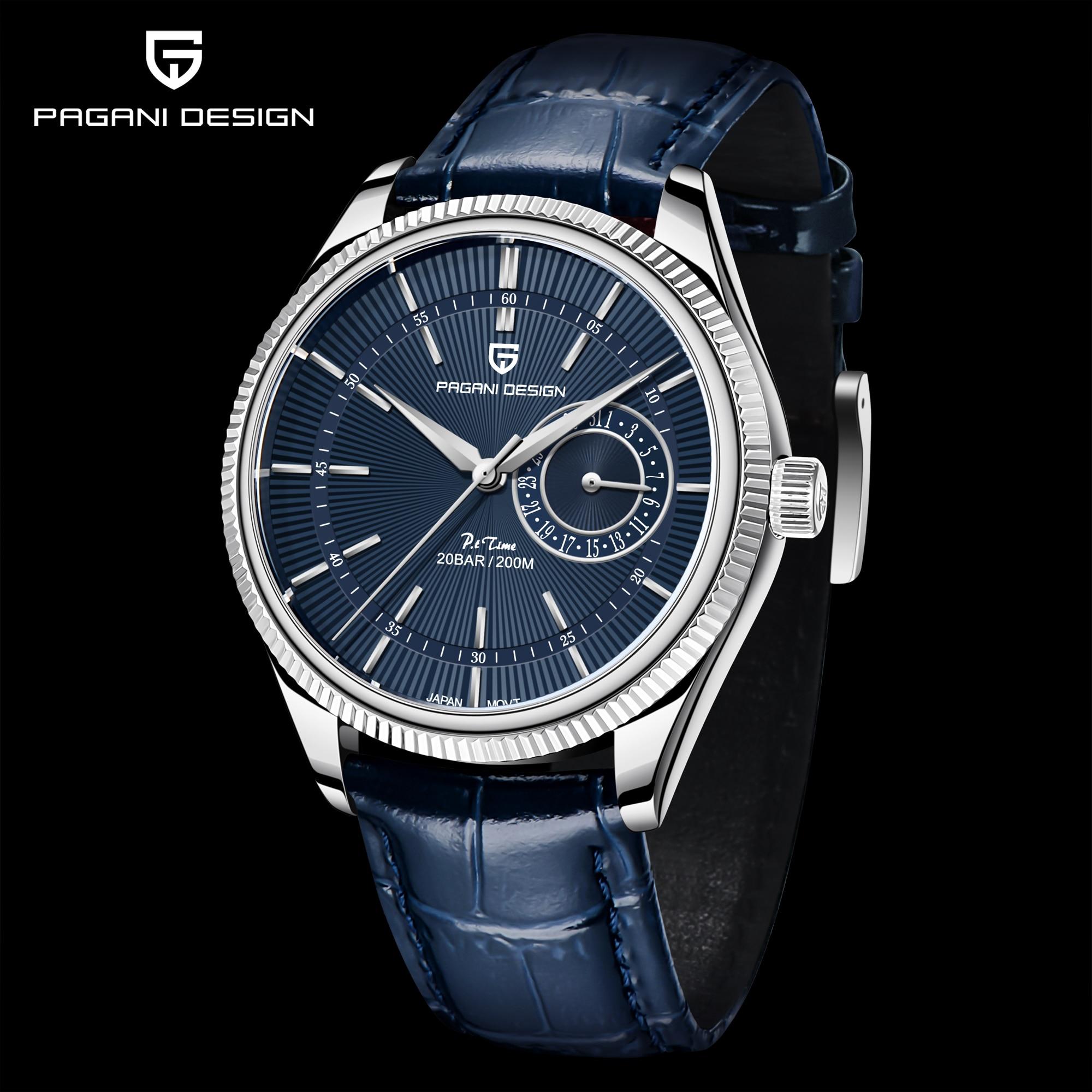 2021 Pagani Design New Men's Leather Mechanical Second Quartz Clock Sapphire 200m Waterproof Men's Quartz Watch Relogio