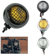 "Motorcycle Grill Vintage 4.5"" H4 Headlight Lighting Lamp Bates Headlamp For Harley Old School Chopper Bobber Cafe Racer Custom"