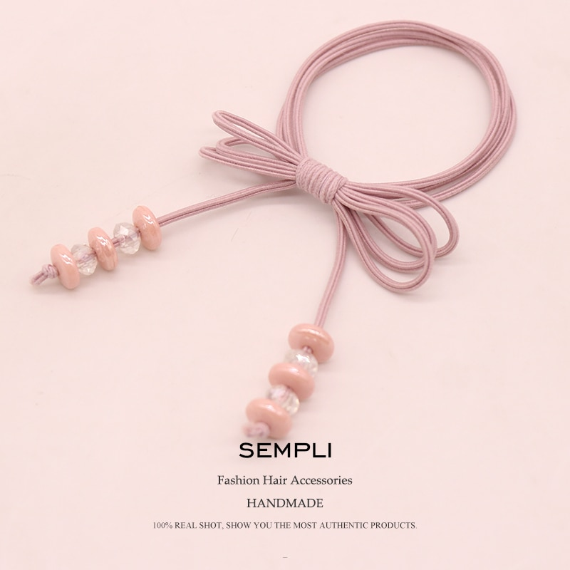 Sempli High Elastic Rope Elastic Hair Bands Hair Rubber Bands Flower Bead For Women Handmade Bow-knot Hair Accessories Scrunchie women elastic hair bands rubber tie girl acrylic cherry bow knot dot korean accessories scrunchie headbands wholesale sets