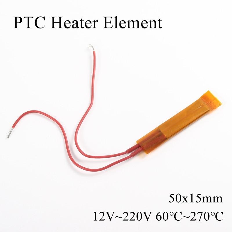 50x15mm 12V 24V 110V 220V PTC elemento calentador termostato constante aislamiento termistor cerámica aire chip de calor tubo de película 50*15mm