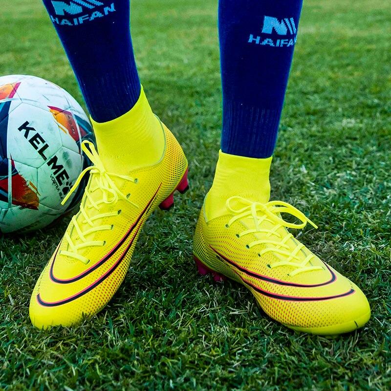 2020 New Trend Soccer Sneaker Unisex Orange Black Football Shoes Men Indoor Youth Football Sock Boots Designer Turf Soccer Shoe
