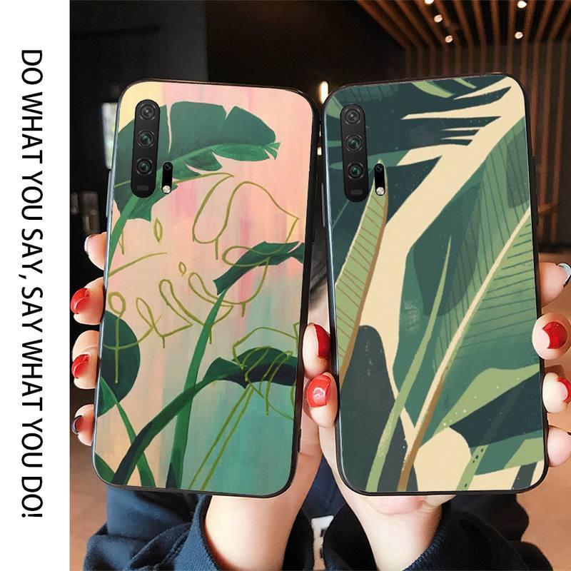 Funda de teléfono con diseño abstracto de plantas para Huawei Honor7A 10I 20I 20Lite View10 Honor30 Honorplay Honor9X CaseCases