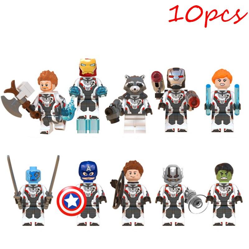 Figura de bloques de construcción 10 Uds compatibles con LEGO vengadores superhéroe Hulk Capitán América Iron Man modelo de muñecos regalos de navidad