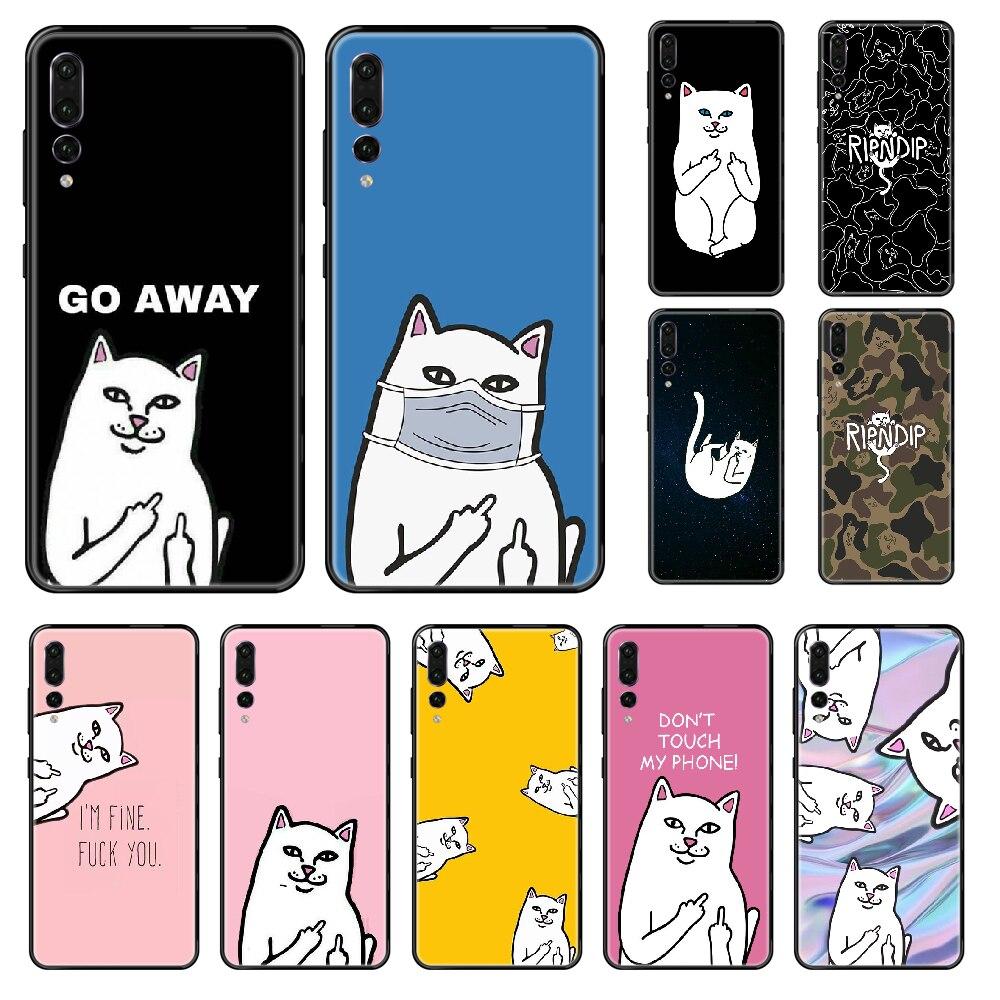 Funda de teléfono a la moda RIPNDIP Cat para Huawei P 8 10 20 30 Smart Plus 2019 Z Lite Pro 2017 2019, bonita funda de silicona negra