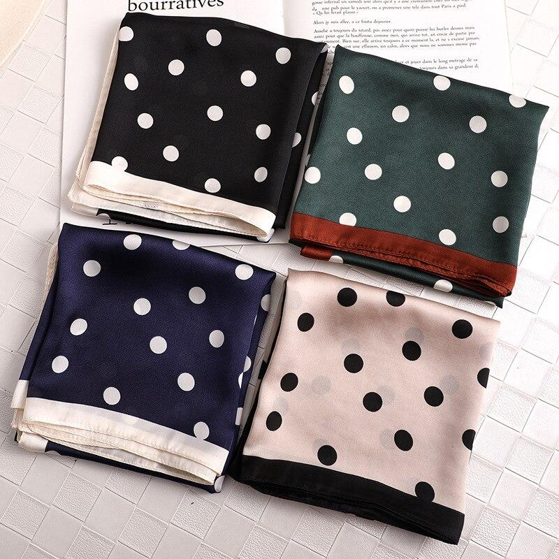 Square silk scarf printed Popular Dots Army Green fashion office lady scarf luxury designer brand small hair neck band foulard