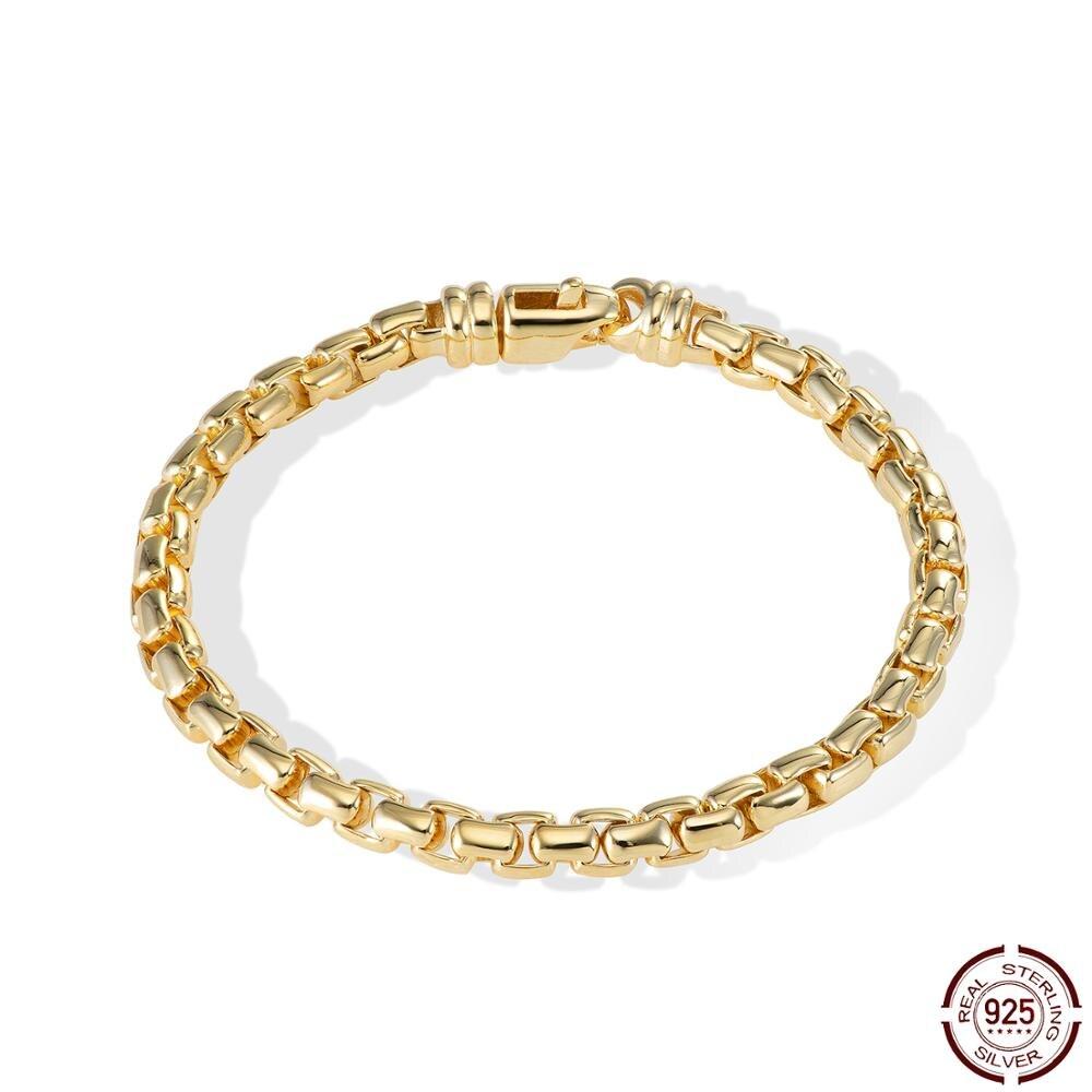 CHENZHON خمر الفضة أساور 925 للنساء الرجال الذهب مطلي صندوق سلسلة الكلاسيكية الذكرى سلاسل عالية الجودة عاشق بسيط